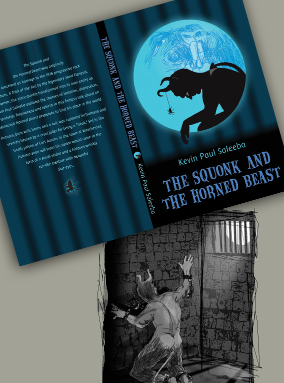 The Squonk and the Horned Beast bookcover and illustrations