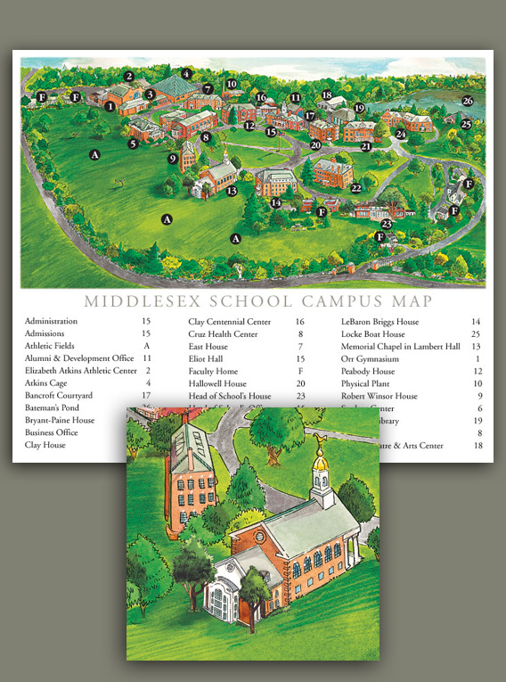 Gardiner Design Illustration Middlesex School Campus Map